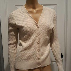 Jeanne Pierre tan cream cardigan sweater large